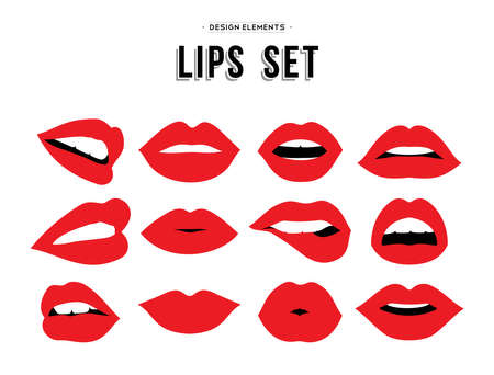 close: Womans lip gestures set. Girl mouths close up with red lipstick makeup expressing different emotions.  vector.