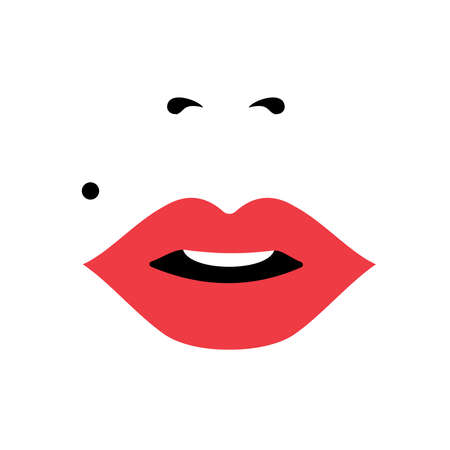 close up woman: Girl face close up portrait with lipstick and classic makeup look. Concept art for international womens day.  vector. Illustration