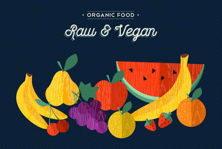 raw food: Vegan and vegetarian raw food concept illustration with fruits. Includes apple, orange, banana in flat wooden textured style.  vector.
