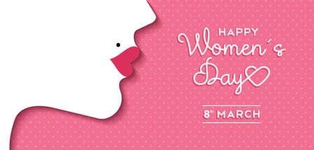 fondo para tarjetas: Feliz Día Internacional de la Mujer el 8 de marzo de diseño de fondo. Ilustración del perfil de la cara de la mujer con maquillaje estilo retro. vector.