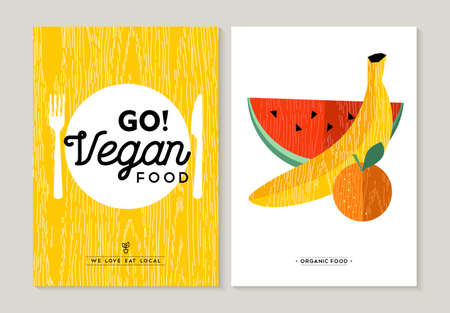 eating utensil: Vegan food concept flat designs for healthy eating. Colorful fruits illustration and kitchen utensil elements.  vector. Illustration