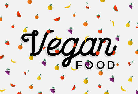 raw food: Vegan food concept design with text label and colorful flat art style fruits.  vector.