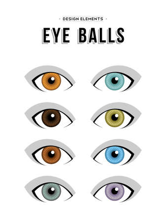 human eye: Set of concept human eye illustration elements in different colors. Isolated designs with neutral expressions.  vector.