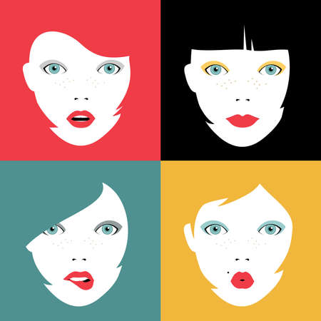 make up eyes: Illustration set of girl faces expressing different emotions. Concept woman portraits with colorful hairstyles and makeup.  vector.
