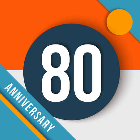 decade: 80 eighty year anniversary modern concept with number, text label and abstract shapes in material design style.