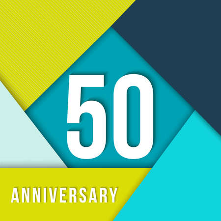 50 number: 50 fifty year anniversary colorful template with number, text label and geometry shapes in flat material design style. Illustration