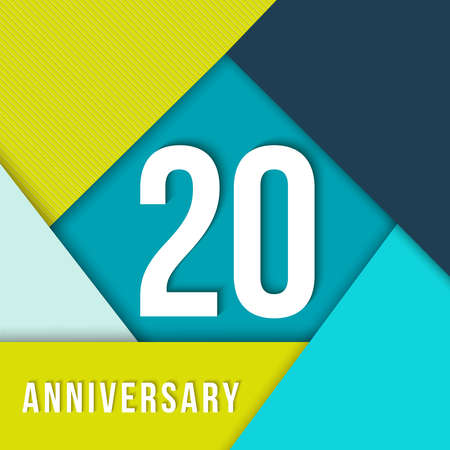decade: 20 twenty year anniversary colorful template with number, text label and geometry shapes in flat material design style. Illustration