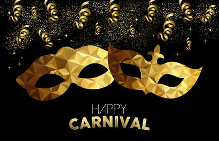 party streamers: Golden carnival design. Low poly masks with text, gold party streamers and confetti