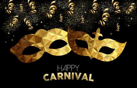 Goldene Karneval Design. Low-Poly-Masken mit Text, Gold Partei Streamer und Konfetti