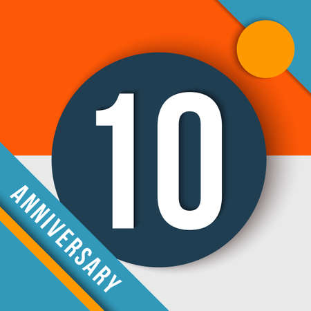 10 ten year anniversary modern concept with number, text label and abstract shapes in material design style.