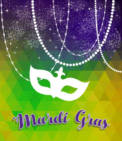 new orleans: Mardi gras design with traditional color background, carnival mask silhouette and party decoration. Illustration