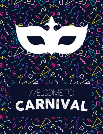 Colorful retro line art background with carnival mask silhouette and text label.