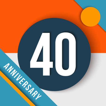 40 forty year anniversary colorful template with number, text label and geometry shapes in flat material design style. Ilustrace