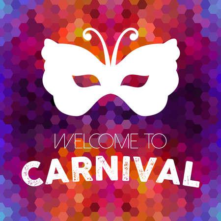 カーニバル デザイン、カラフルなハニカム背景にビンテージのバタフライ マスクへようこそ。