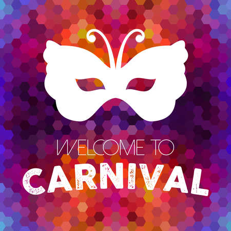 carnival costume: Welcome to carnival design, vintage butterfly mask on colorful honeycomb background. Illustration