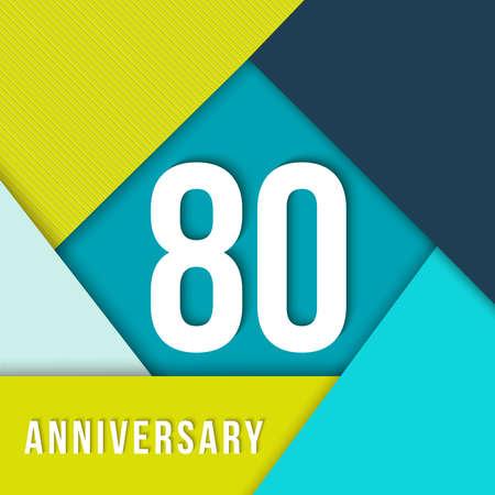 80 el ochenta por aniversario colorido plantilla con número, etiqueta de texto y formas geométricas en el estilo de diseño de material plano.