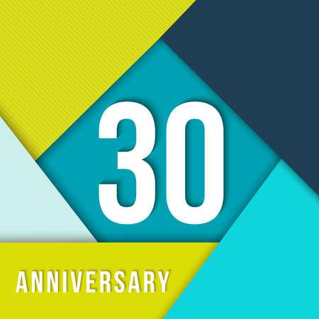 30 dertig jarig jubileum kleurrijke sjabloon met nummer, tekstlabel en geometrie vormen in platte materiële ontwerpstijl. Ideaal voor poster of kaart.