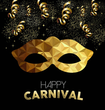 Happy carnival design, gold mask with low poly shapes, party streamers and confetti background.