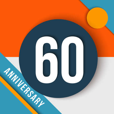 sixtieth: 60 sixty year anniversary modern concept with number, text label and abstract shapes in material design style.