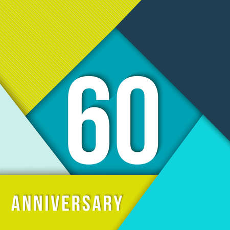 sixtieth: 60 sixty year anniversary colorful template with number, text label and geometry shapes in flat material design style. Ideal for poster or card. EPS10 vector.