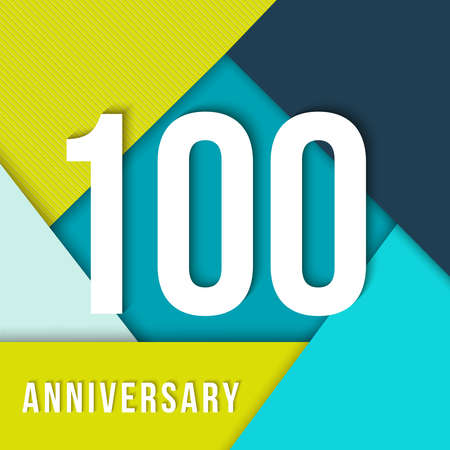 hundred: 100 hundred year anniversary colorful template with number, text label and geometry shapes in material design style. Ideal for poster or card.