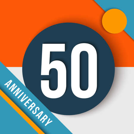 number 50: 50 fifty year anniversary modern concept with number, text label and abstract shapes in material design style.