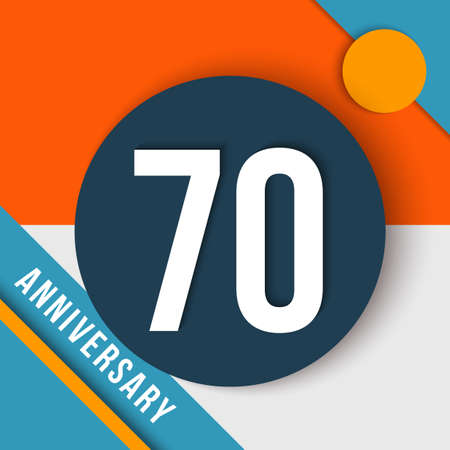 seventieth: 70 seventy year anniversary modern concept with number, text label and abstract shapes in material design style. Illustration