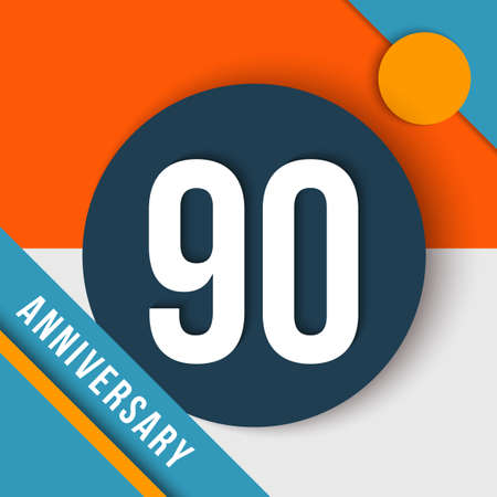decade: 90 ninety year anniversary modern concept with number, text label and abstract shapes in material design style.