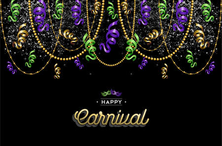 Colorful carnival background decoration with text label and party masks. EPS10 vector. Иллюстрация