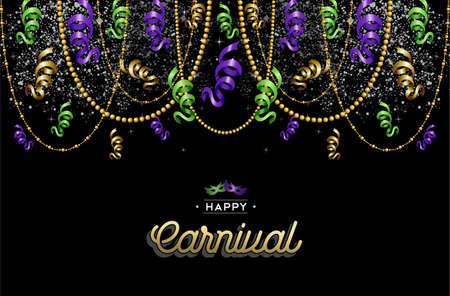 Kleurrijke carnaval achtergrond decoratie met tekst label en party maskers. EPS10 vector.