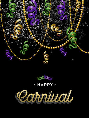 parade confetti: Happy carnival design, party decoration in gold, purple and green colors with text label.