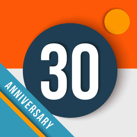 thirty: 30 thirty year anniversary modern concept with number, text label and abstract shapes in material design style. Illustration