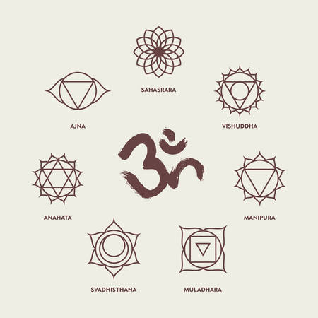 Set Of Chakra Yoga Symbols In Simple Outline Style With Om Handmade