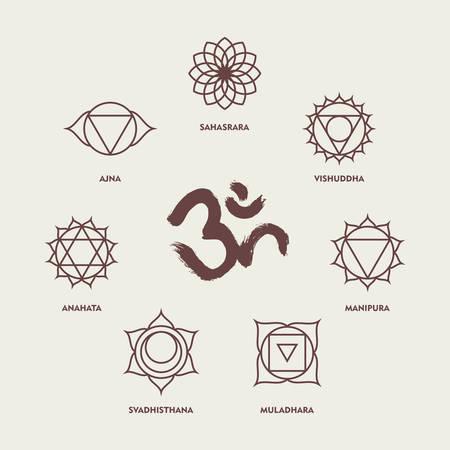 chakra symbols: Set of chakra yoga symbols in simple outline style with om handmade brush calligraphy.