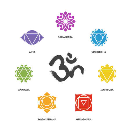 sacred symbol: Set of simple isolated chakra symbols and om handmade brush calligraphy. EPS10 vector.