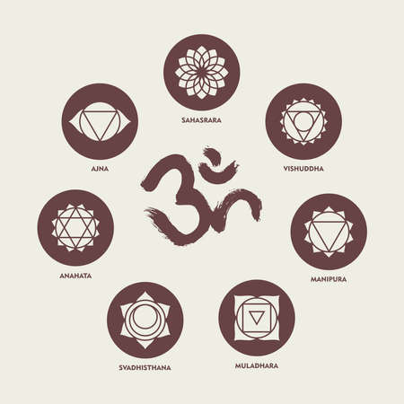 chakra: Set of simple monochrome chakra icons isolated with names and om handmade calligraphy.