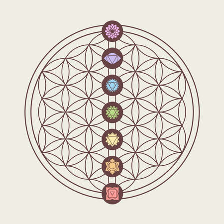 balance life: Zen concept illustration, seven main chakra icons placed on flower of life sacred geometry design.