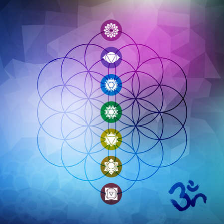 om symbol: Sacred geometry abstract design, flower of life outline with main chakra symbols on gemetric low poly background.