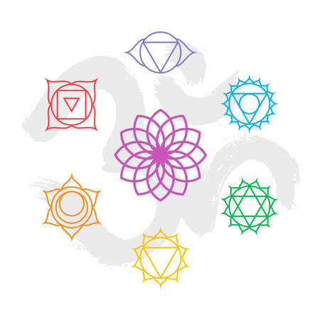 simple flower: Set of simple outline chakra icons with om handmade calligraphy background.
