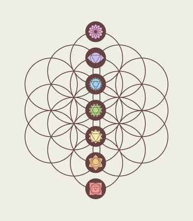 Main chakras on flower of life sacred geometry background, harmony and balance modern design. Иллюстрация