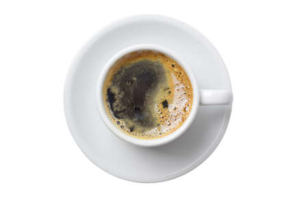 simple meal: Single cup of coffee top view with plate isolated on empty white background.