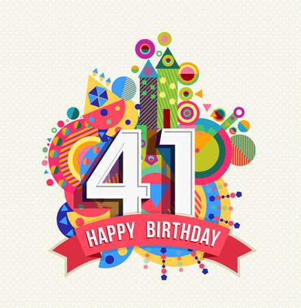 40: Happy Birthday forty one 41 year Illustration