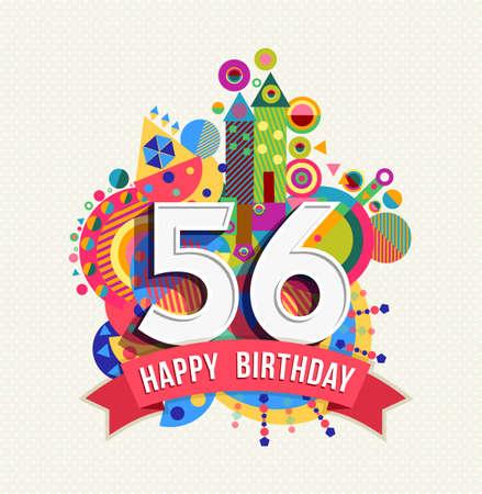 fifty: Happy Birthday fifty six 56 year Illustration