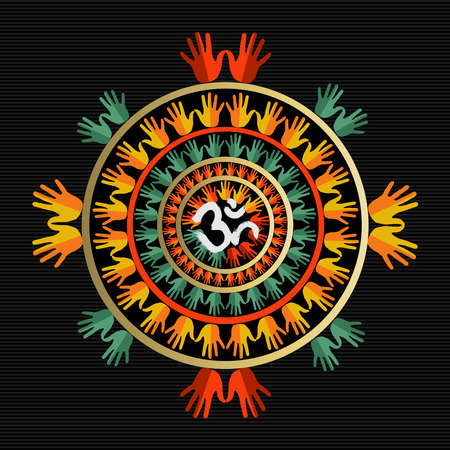 humankind: Oriental mandala design made with colorful human hands and om sign in center Illustration