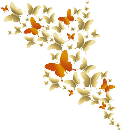 Gold and orange butterfly design on empty background, concept illustration for spring. Ilustração