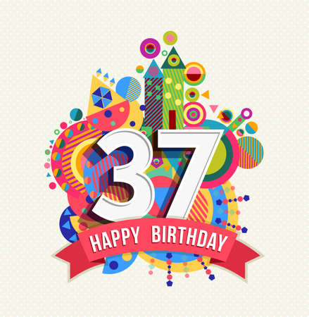 30: Happy Birthday thirty seven 37 year Illustration