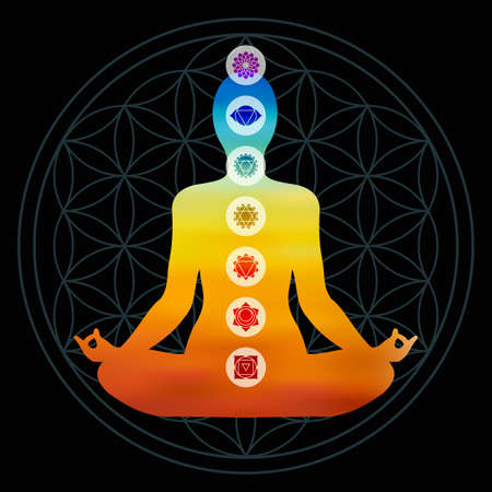 Body silhouette with chakra icons doing yoga pose Çizim