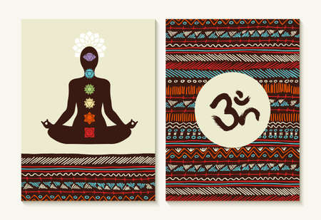om symbol: Chakra concept set with body silhouette doing lotus yoga pose and boho background designs.
