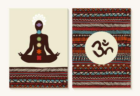 geometría: chakra concepto establecido con la silueta del cuerpo haciendo yoga pose de loto y de fondo boho diseños.