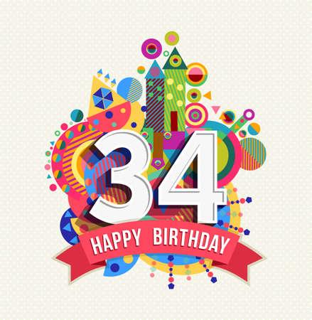 Feliz cumpleaños treinta y cuatro 34 años Ilustración de vector